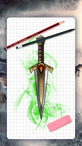 How to draw weapons. Daggers. Step by step lessons screenshot 1
