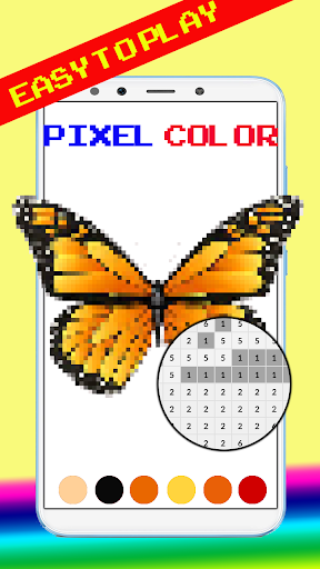 Cute Butterfly Pixel Art Coloring By Number screenshot 3