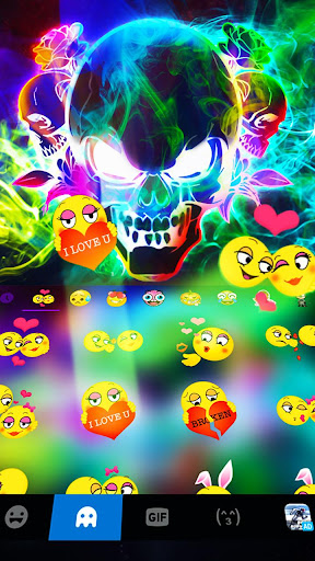 Smoke effect 3D Colorful Skull Keyboard screenshot 3