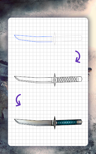 How to draw weapons. Daggers. Step by step lessons screenshot 17