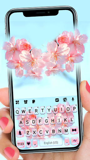 Sakura Flower Keyboard Background screenshot 1