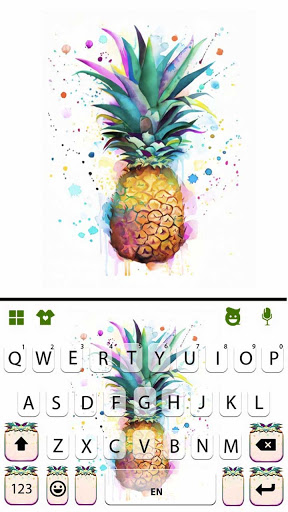 Watercolor Pineapple Keyboard Background screenshot 5