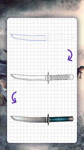 How to draw weapons. Daggers. Step by step lessons screenshot 6