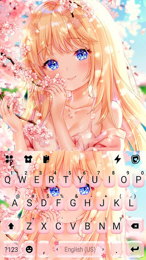 Cute Sakura Girl Keyboard Background screenshot 5