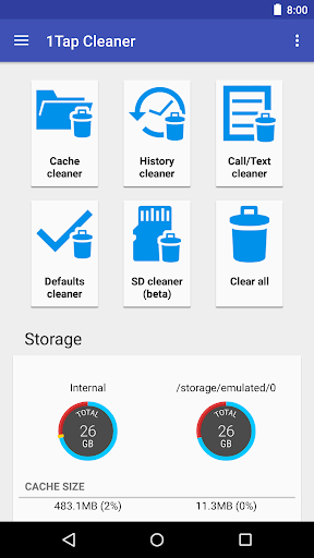 1Tap Cleaner (clear cache, and history log) screenshot 1