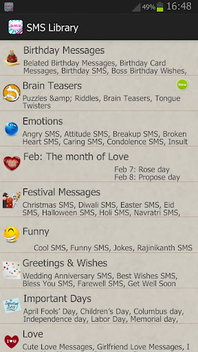 All In One SMS Library Quotes and Status screenshot 1