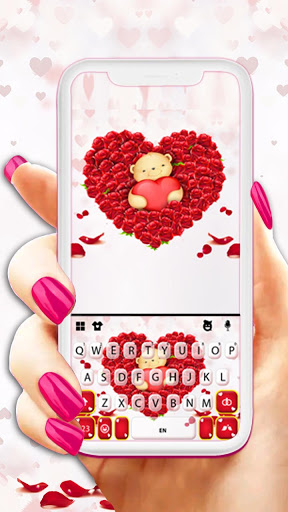Teddy Roses Love Keyboard Background screenshot 1