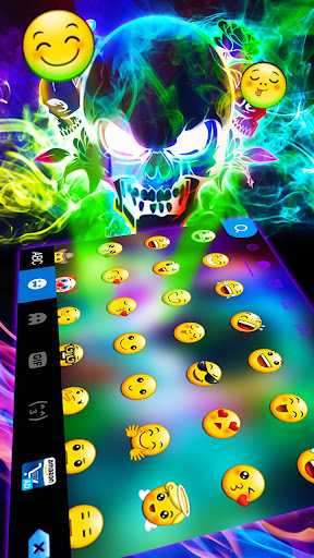 Smoke effect 3D Colorful Skull Keyboard screenshot 2