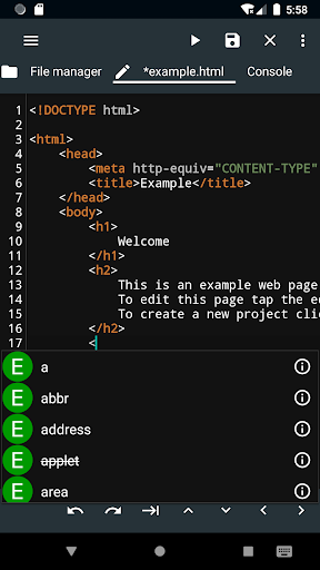 WebCode - ide for html, css and javascript screenshot 2