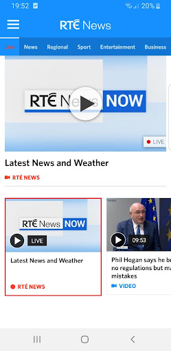RTÉ News screenshot 2