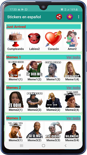 Memes with phrases Spanish Stickers WAStickerApps screenshot 1
