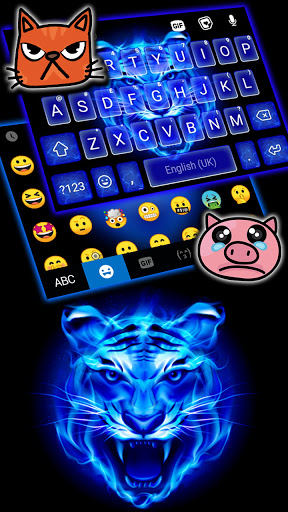 Fundo do Teclado Fire Blue Tiger captura de tela 3