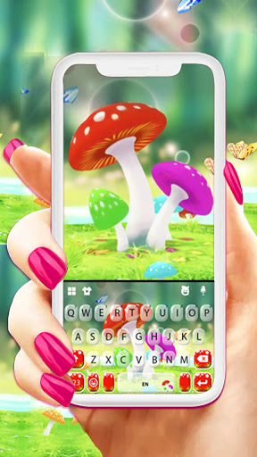 Cute Mushrooms Keyboard Background screenshot 1