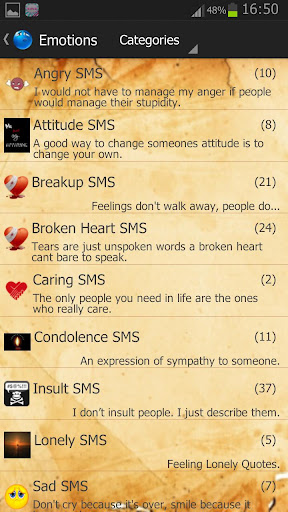 All In One SMS Library Quotes and Status screenshot 2