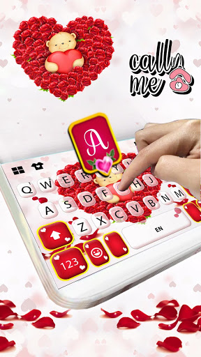 Teddy Roses Love Keyboard Background screenshot 2