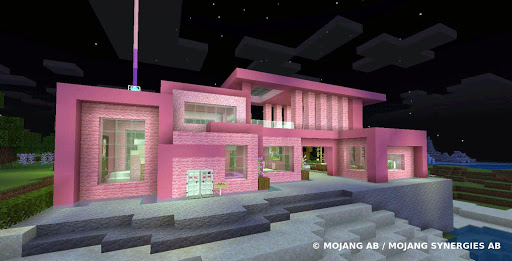 Pink house with furniture. Craft maps and mods screenshot 1