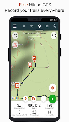 SityTrail hiking trail GPS offline IGN topo maps screenshot 1