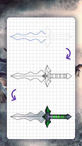How to draw weapons. Daggers. Step by step lessons screenshot 8