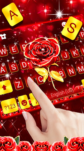 Red Lux Rose Keyboard Background screenshot 2
