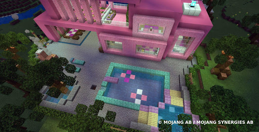 Pink house with furniture. Craft maps and mods screenshot 2