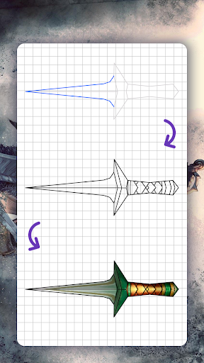 How to draw weapons. Daggers. Step by step lessons screenshot 7