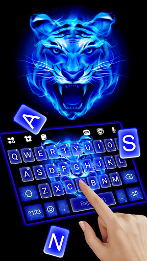 Fundo do Teclado Fire Blue Tiger captura de tela 2
