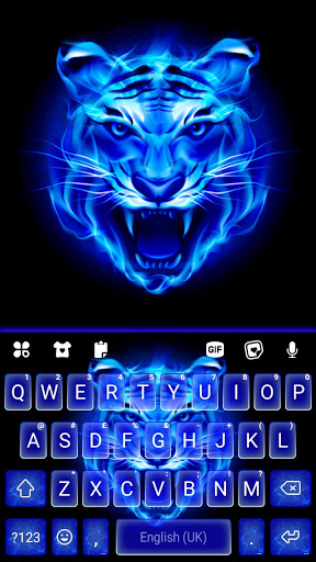 Fundo do Teclado Fire Blue Tiger captura de tela 5