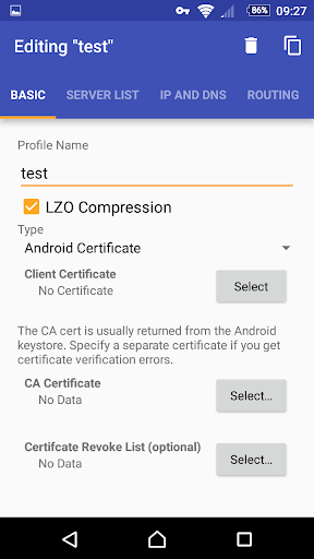 OpenVPN for Android screenshot 1