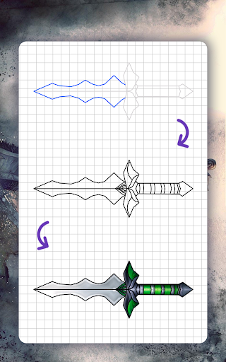 How to draw weapons. Daggers. Step by step lessons screenshot 13