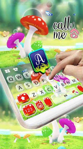 Cute Mushrooms Keyboard Background screenshot 2