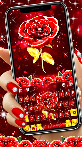 Red Lux Rose Keyboard Background screenshot 1