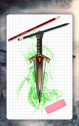 How to draw weapons. Daggers. Step by step lessons screenshot 14