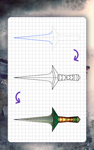 How to draw weapons. Daggers. Step by step lessons screenshot 18