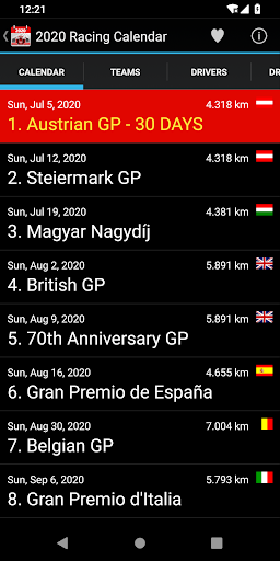 Racing Calendar 2020 (No Ads) screenshot 1