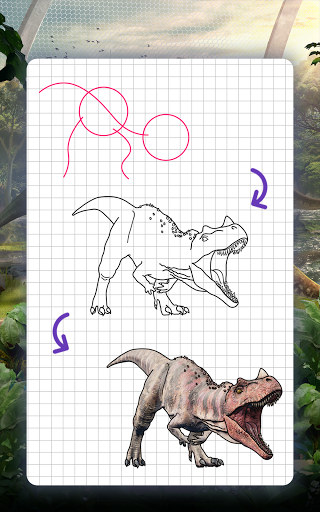 How to draw dinosaurs. Step by step lessons screenshot 14