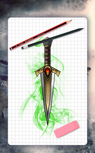 How to draw weapons. Daggers. Step by step lessons screenshot 9