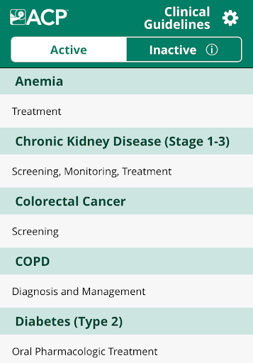 ACP Clinical Guidelines screenshot 1