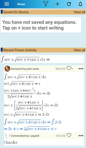 Equation Editor and Math Question and Answer Forum screenshot 1