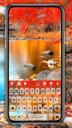 Autumn Lake Keyboard Background screenshot 1