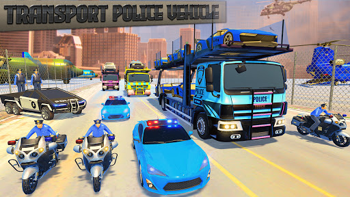 Police Car Transport Truck:New Car Games 2020 screenshot 1