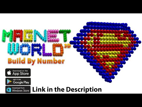 Build Superman Logo Using Magnetic Balls - Color By Number 3D Magnet World Creative Android/iOS App