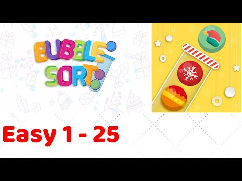 Bubble Sort Color Puzzle Game Level 1-1 to 1-25 Walkthrough (iOS - Android)