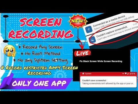 How to Screen recording   Restricted app Screen Recording   Black Display Problem  No Root 100% sol.