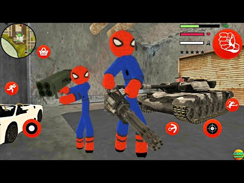 Spider Stickman Rope Hero Secret Place Gangster Crime Simulator Android Game Play FHD