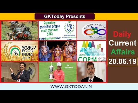 Daily Current Affairs June 20 , 2019 : English MCQs   GKToday