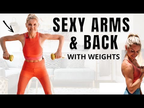 SEXY ARMS & BACK - at home workout with weights (burn back fat)