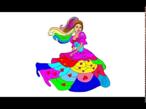 How To Draw Barbie Princess Dress l BARBIE Coloring Pages l color for Children | video for children