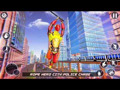 Flying Robot Rope Hero - Vegas Crime City Gangster Android Gameplay