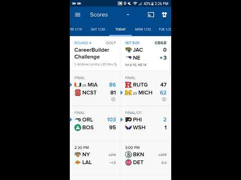 Watch All Sports Free and Live via CBS sports mobile app (Android and iOS)