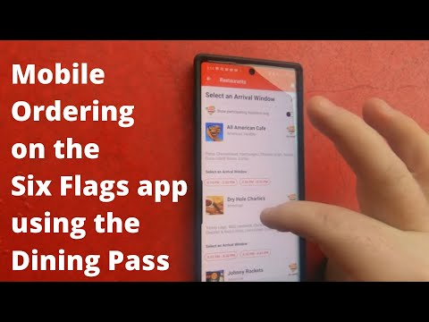 Mobile ordering food on the Six Flags app